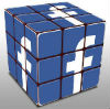 3 faces d'un cube avec le F de Facebook